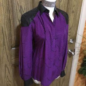 Purple rain silk studded shoulders vintage blouse